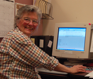 Image of a volunteer at computer